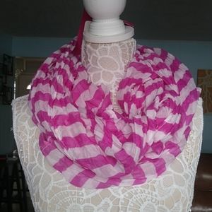 NWT Merona pink white striped sheer infinity scarf